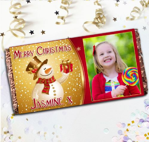 Personalised Snowman Merry Christmas Milk Chocolate Bar - Xmas Eve Stocking Filler Gift N24